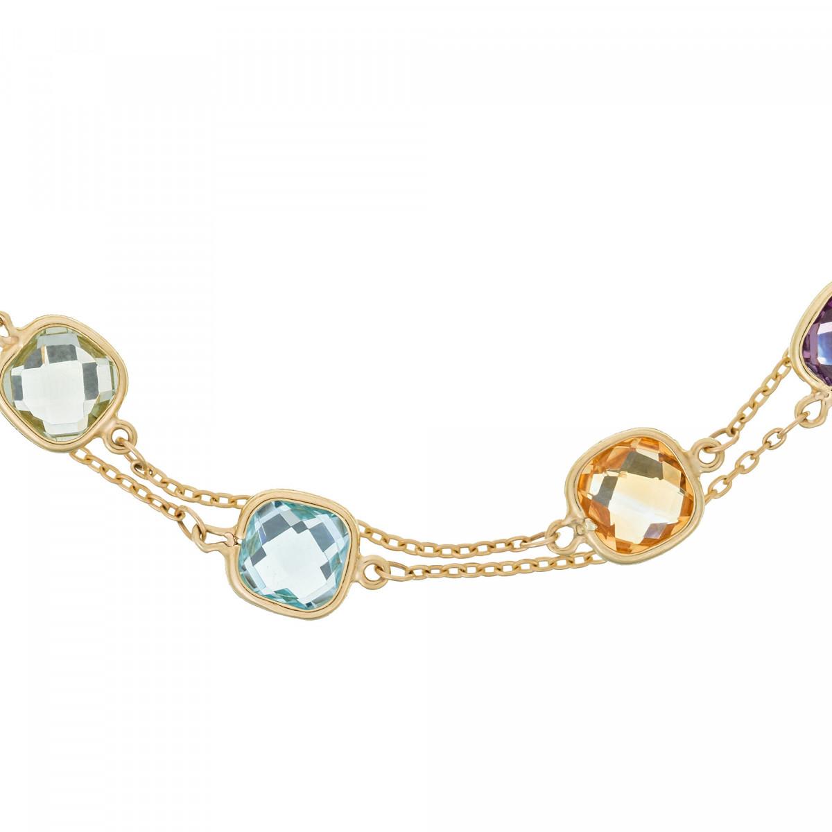 Bracelet Or Jaune 375/1000 et Pierres Fines