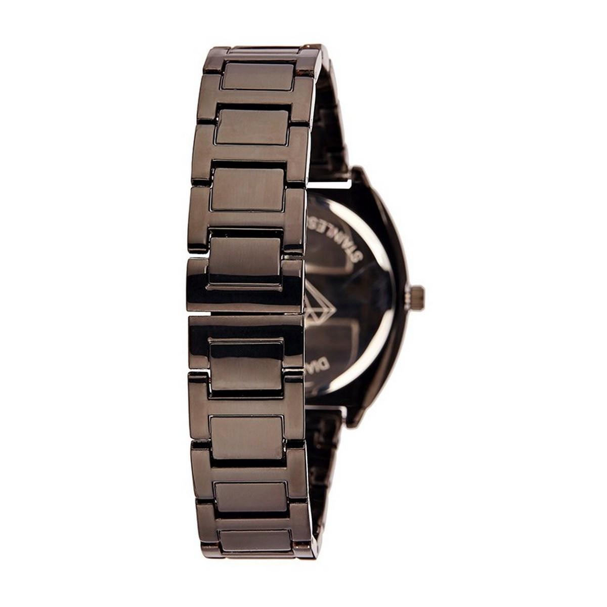 Montre Femme Lily Diamants 0,012 carats - Cadran noir Bracelet métal noir