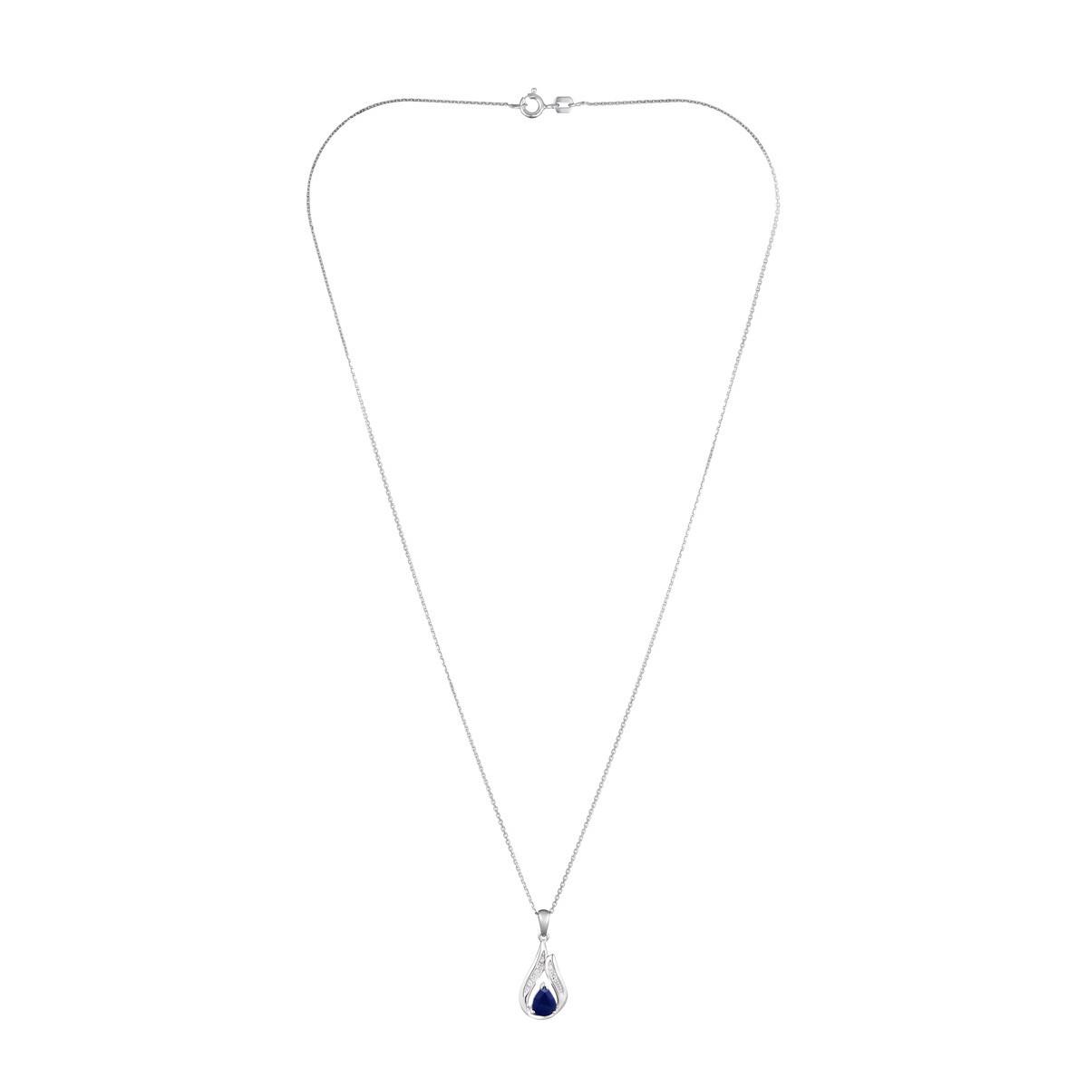 Pendentif Or Blanc Diamant et Saphir