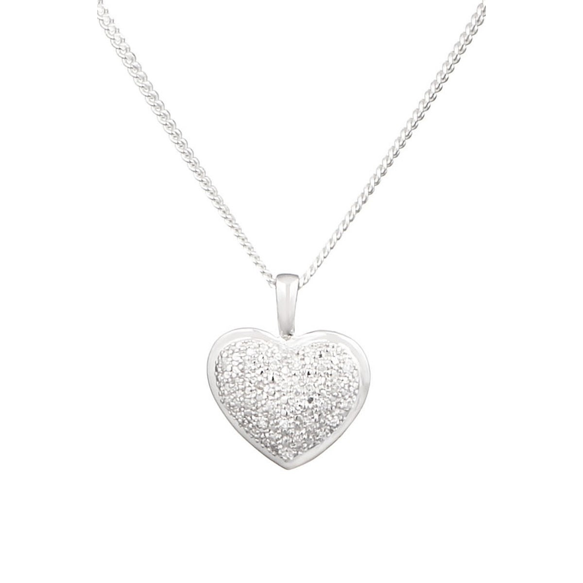 Pendentif coeur Or Blanc 375 et Diamants