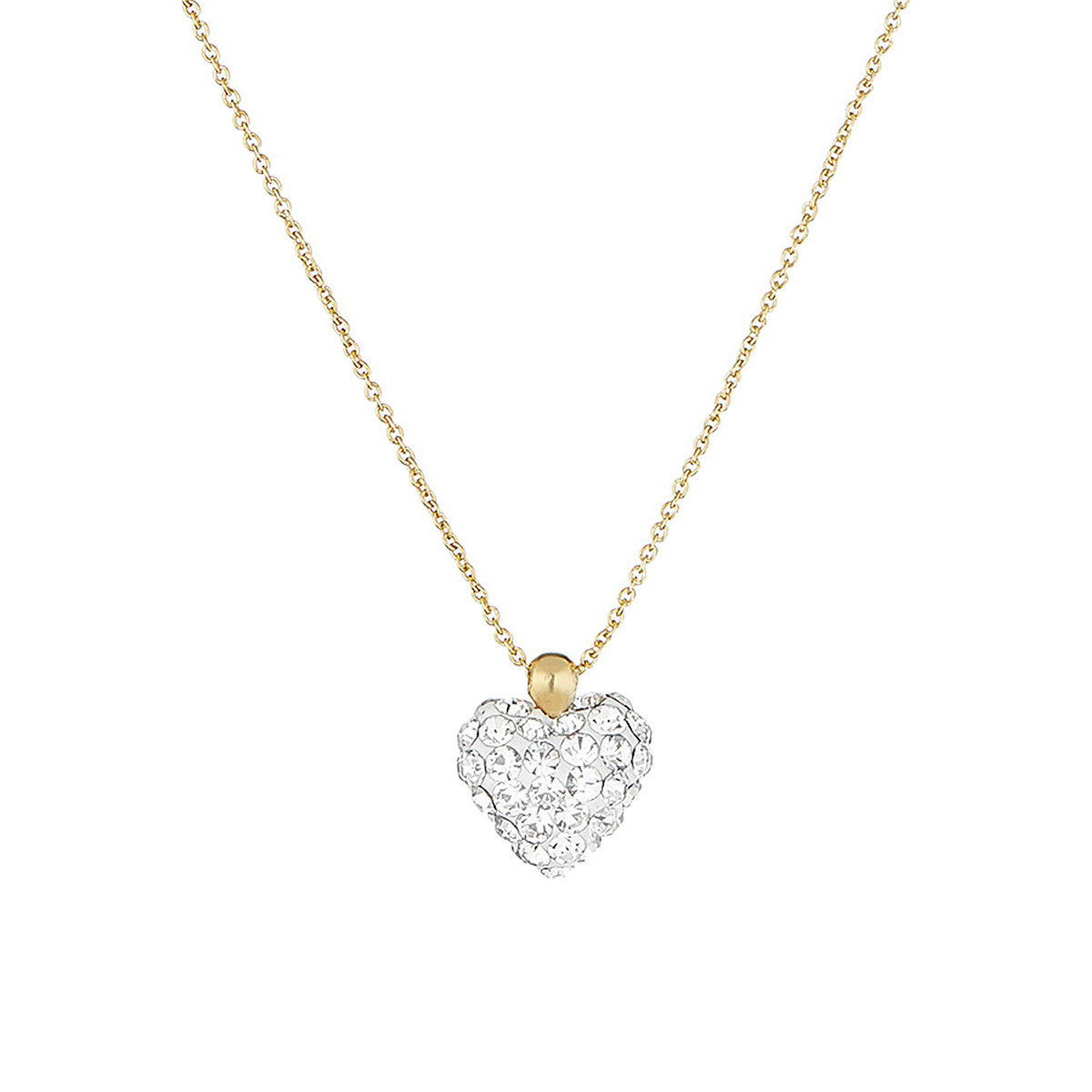 "Collier Or Jaune et oxydes de zirconium Blancs ""Coeur de Crystal"""