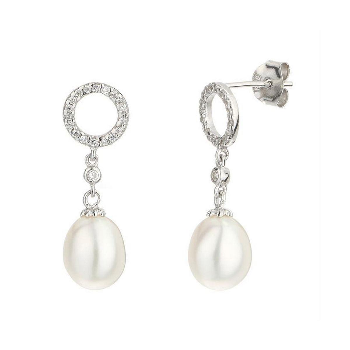 """Boucles d'oreilles argent et perles de cultures blanches et oxydes de zirconium """"Jolie Perle"""""""