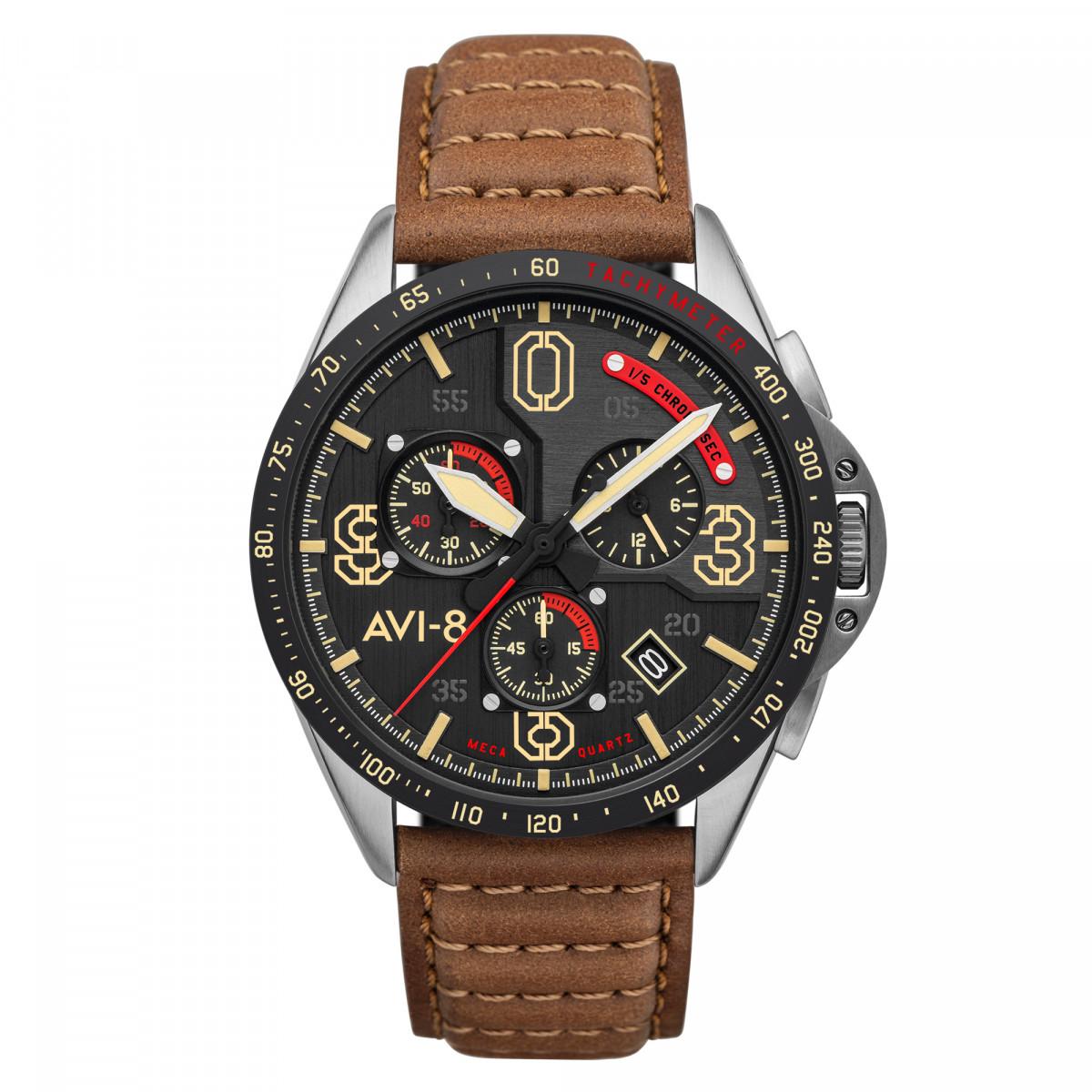 Montre AVI-8 P-51 MUSTANG méca-quartz chronographe - cadran noir - bracelet marron