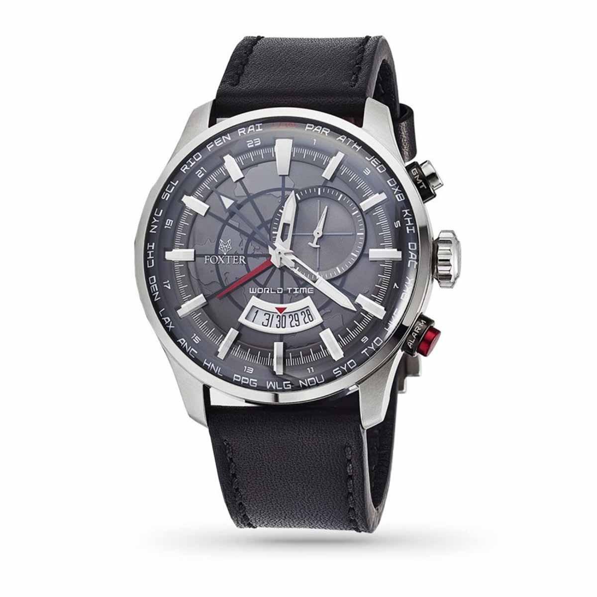Montre Homme Foxter Avalone bracelet cuir noir, boitier acier et fond gris - FR6040C1BC1