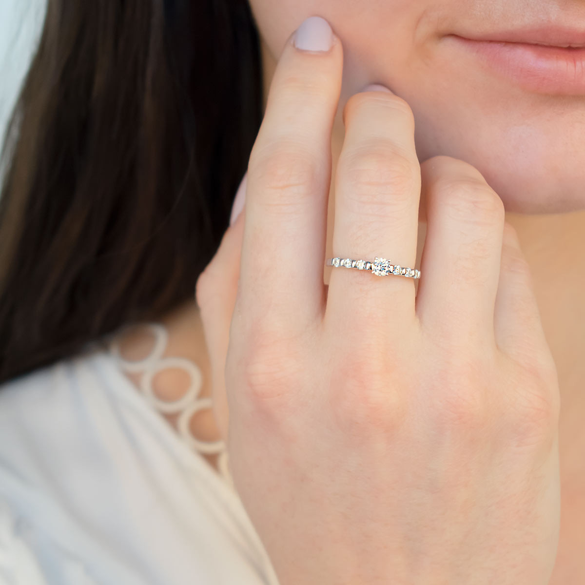 """Bague """"Solitaire Lady Diamond"""" Or blanc et Diamants"""