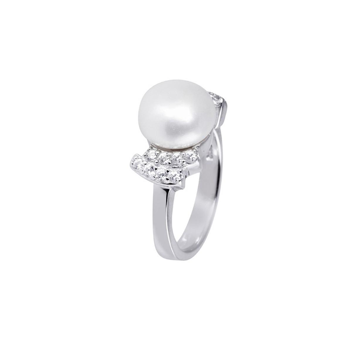 """Bague argent, perle de culture Blanche et oxydes de zirconium """"Perle Royale"""""""